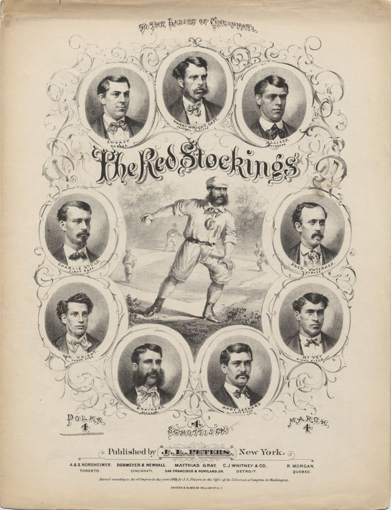 The Red Stockings sheet music, 1869.