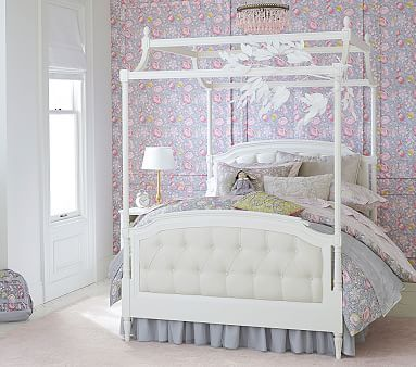 Blythe Tufted Canopy Bed Twin French White Home