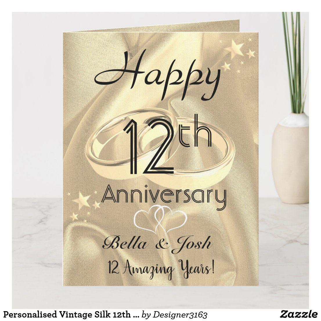 Personalised Vintage Silk 12th Wedding Anniversary Card Zazzle Com Wedding Anniversary Cards Anniversary Cards 12th Wedding Anniversary