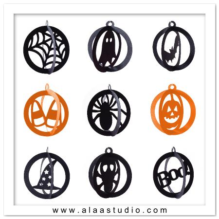 3d halloween ornaments svg cutting files
