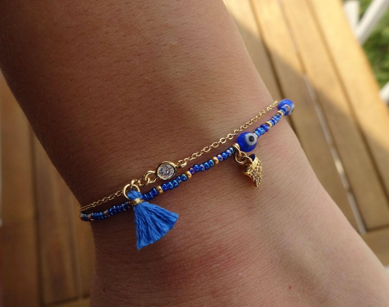 Blue Evil Eye Beaded Bracelet with Tassel by cocolocca on Etsy