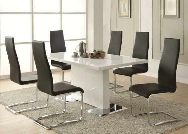moderne-stühle-für-esszimmer-weiß-und-schwarz-zusammenbringen - Esszimmer Modern Weiss
