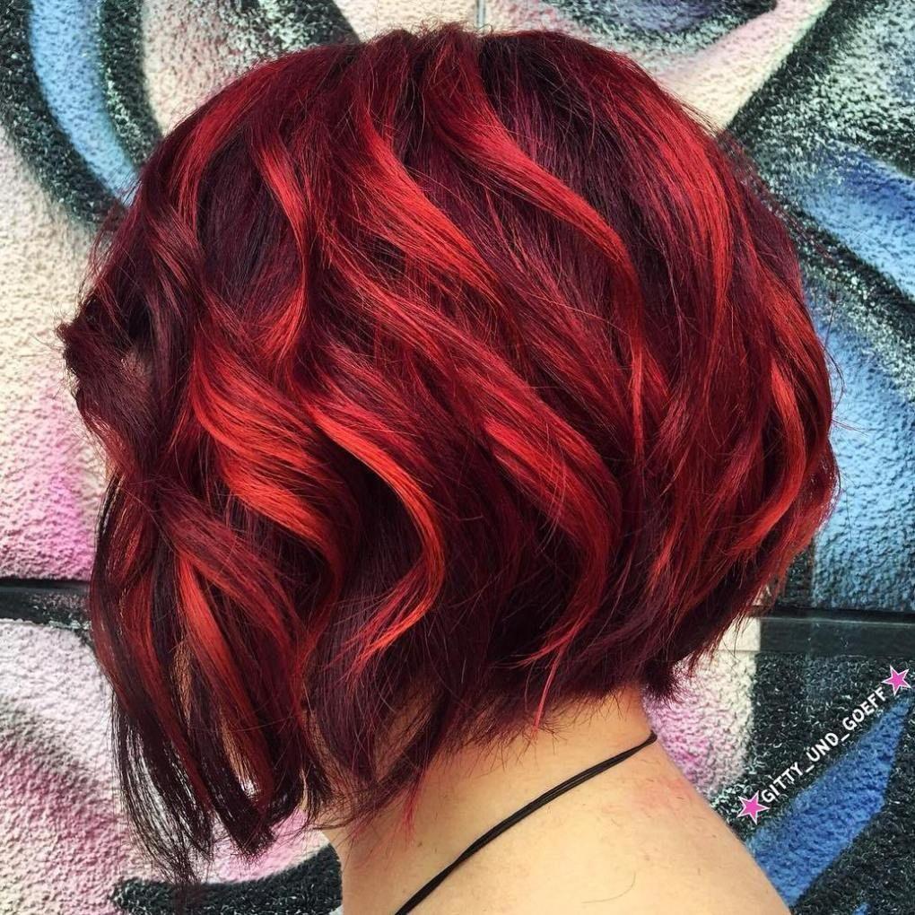 kurzer Bob Haarschnitt stylen #balayage #rot #haarfarbe
