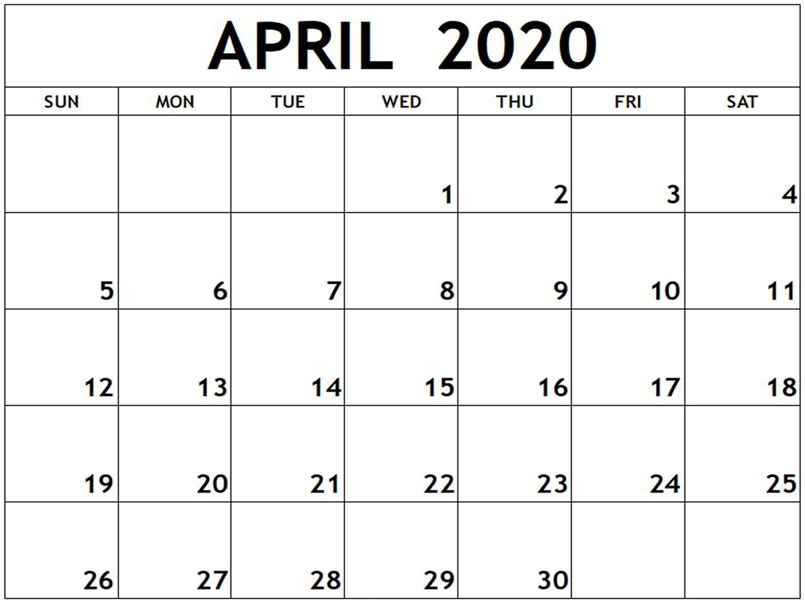 Printable April Calendar Monthly Template Download