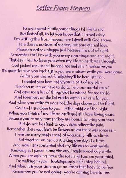 Letter From Heaven  Mom    Heavens Grief And Poem