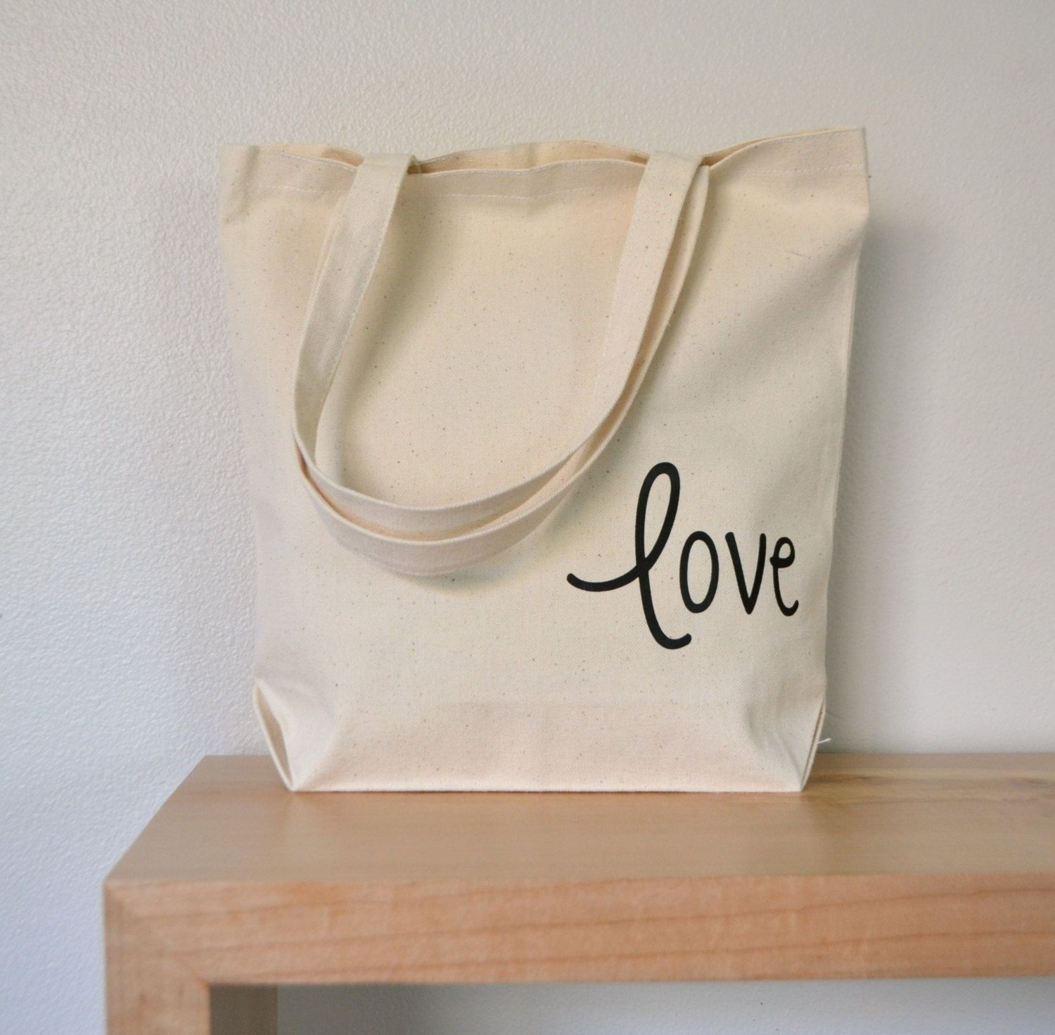 Love Tote bag - market tote in canvas with black lettering - bridal carry all - grocery tote - eco tote - bride tote bag - wedding bag by RevellHouse on Etsy
