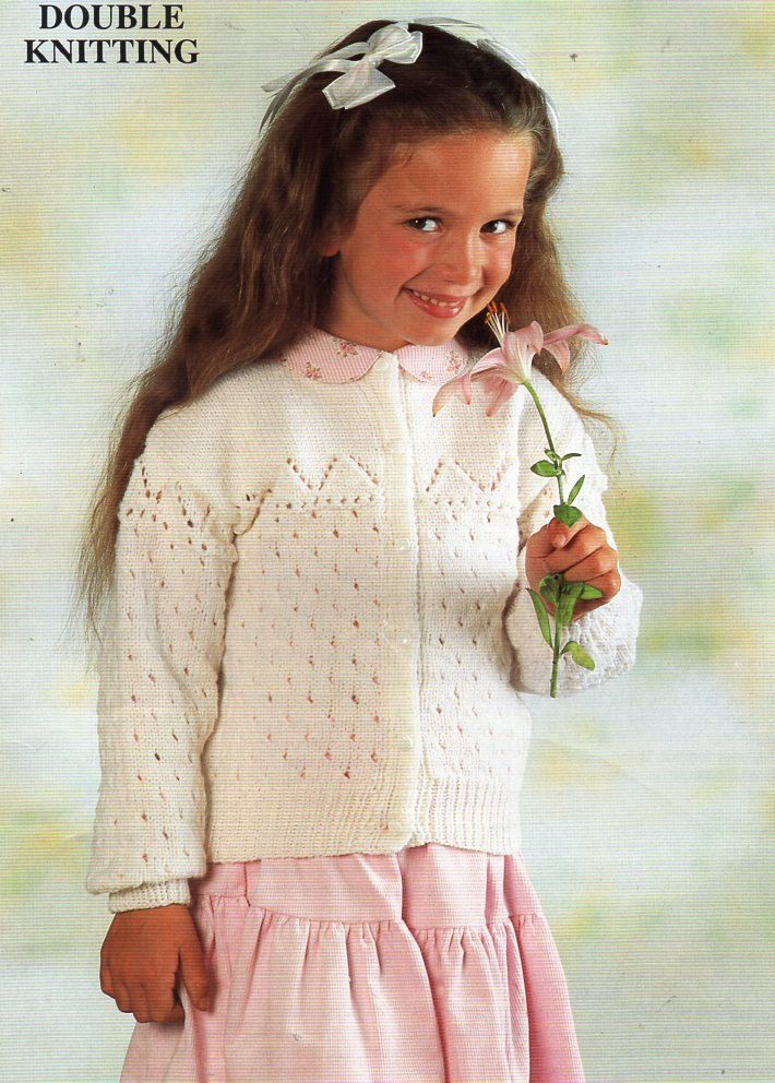 """DK  Knitting  Pattern Babies Cardigan Lacy Design Size 16//24/"""" Chest"""