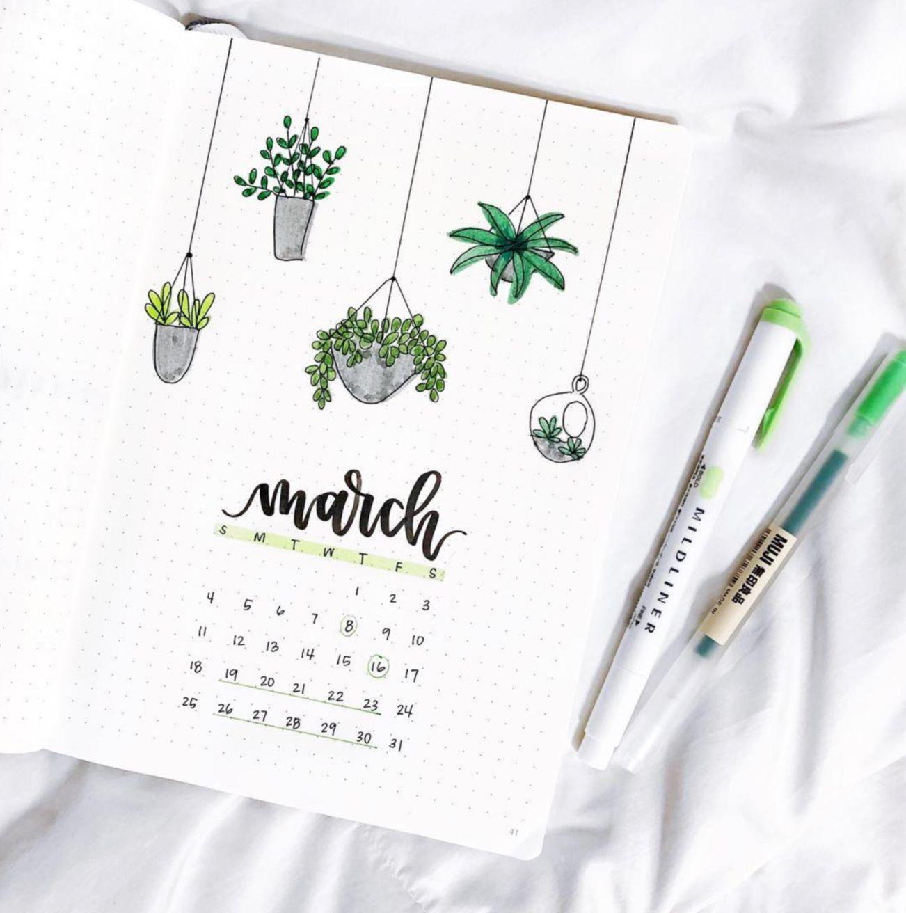 12 Gorgeous Bullet Journal Calendar Ideas - Live Better Lifestyle