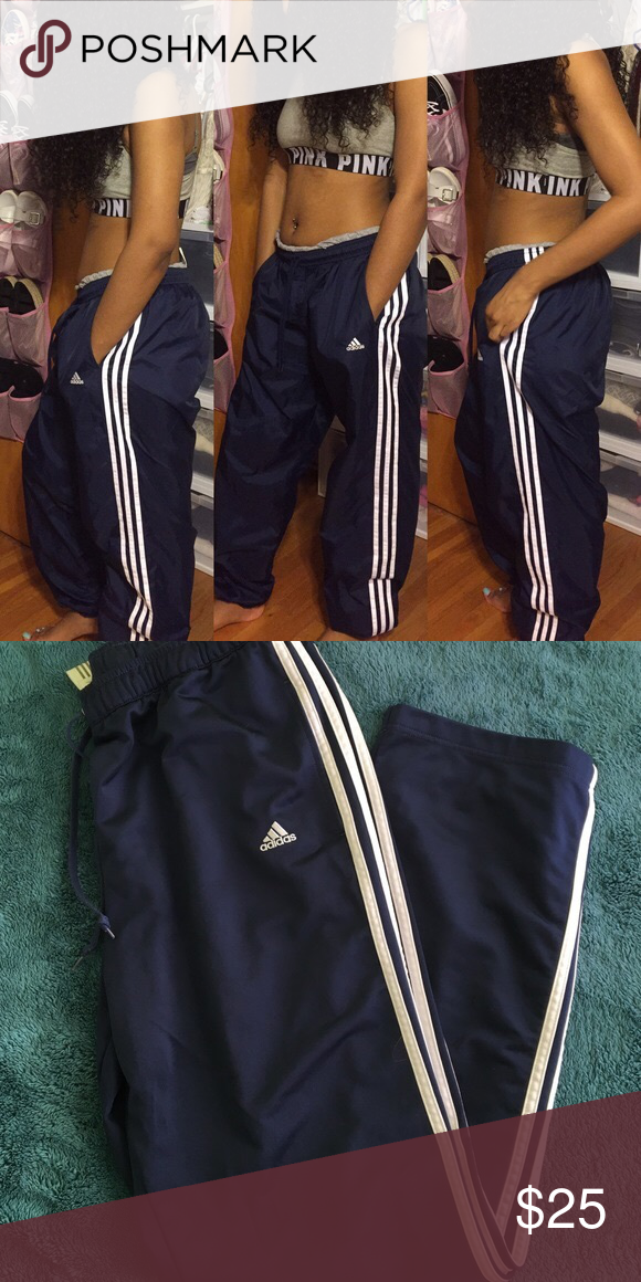 07db83d7cff2 Light weight. Loose fit. Strait leg l. NWOT. Perfect condition. Size  medium. Windbreaker material. Navy blue with white stripes down the side. Adidas  Pants ...