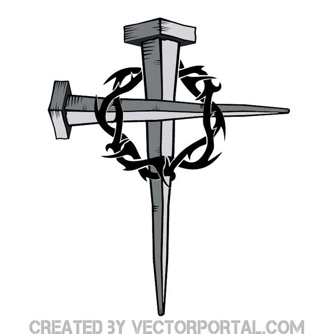 Two Nails Crossed Tattoo Meaning: Cross Of Nails With Thorn Free Vector