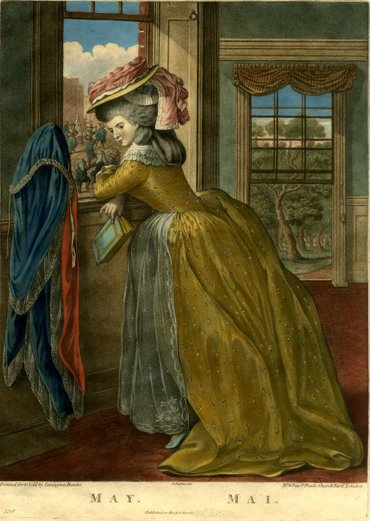 Diary of a Mantua Maker: Twelve Months 1781 - this isn't an English gown,  but it is bright yellow - good inspiration for accessorizing mine