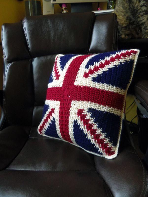 Union Jack Pillow! | Almohadones | Pinterest | Ganchillo, Banderin y ...