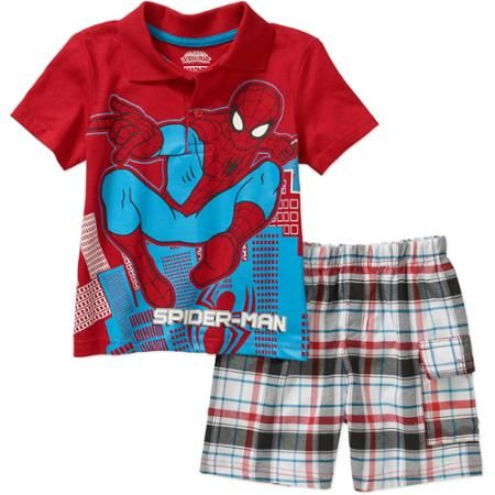 022212e07c32 Spiderman Toddler Boy Graphic Polo Shirt and Shorts Outfit Set - Walmart.com
