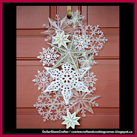 Dollar Store Crafter: Snowflake Door Hanger Made From Dollar Tree Items #hangersnowflake