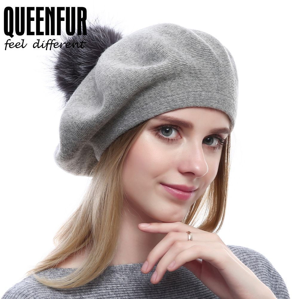 a421e5304de Queenfur Winter Wool Solid Beret Real Silver Fox Fur Pom Pom Hat Cashmere  Beanie