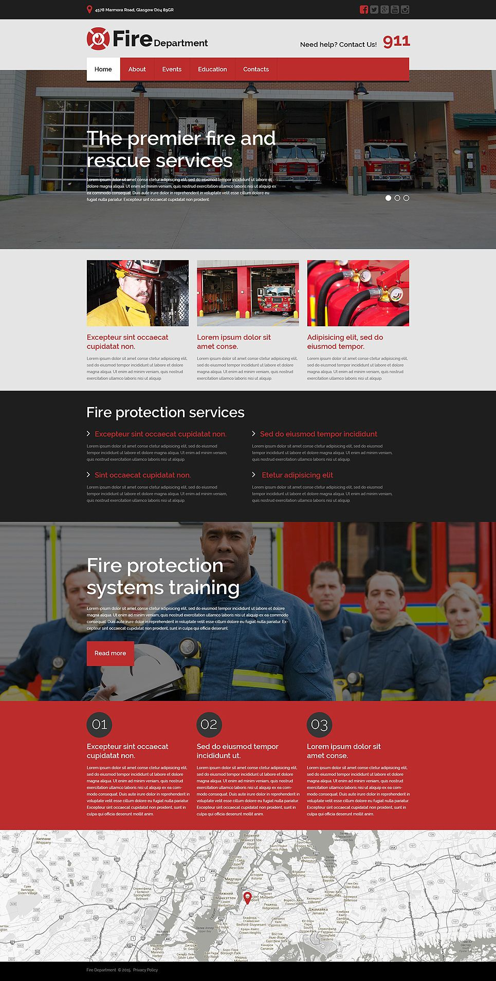 Fire Department Responsive Website Template Design Bundles