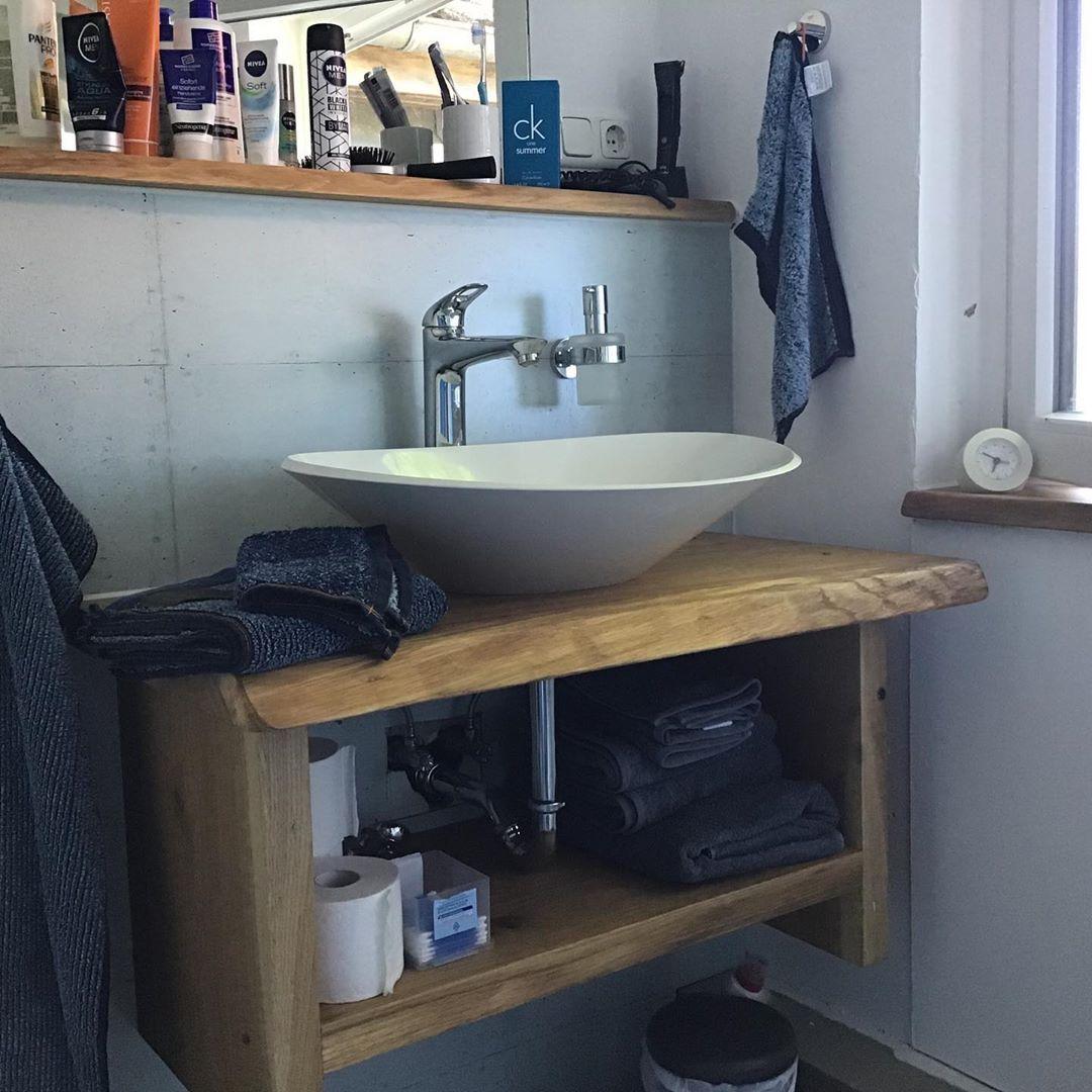 Waschtisch Mit Ablage Fur Zum Beispiel Handtucher Waschtisch Eiche Natur Geolt Rustikal Badezimmer Waschbecken Vanity Double Vanity Bathroom
