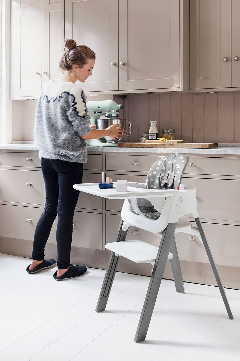 The Stokke Steps High Chair In Grey With Baby Set And Tray