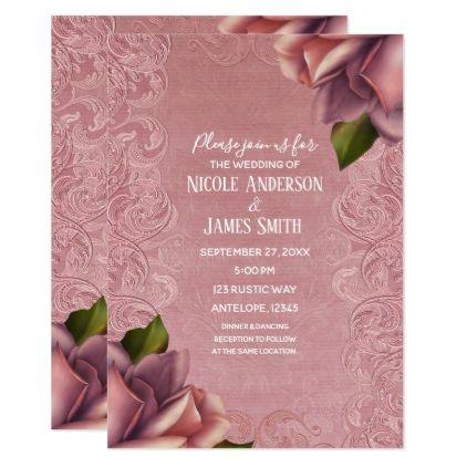 Pink Vintage Antique Dusty Rose Elegant Wedding Invitation Zazzle Com Rose Wedding Invitations Elegant Wedding Invitations Vintage Wedding Invitations