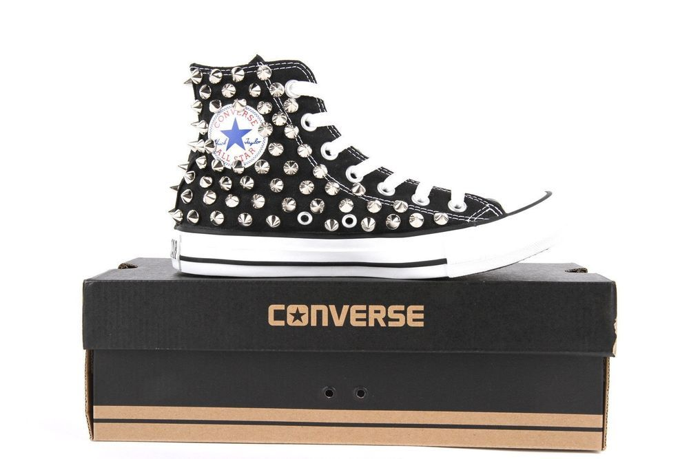 39e8d54b6a86 Black Studded Converse All Star Chuck Taylor Spiked Studs Sneakers Punk  Rock