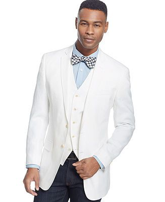 Sean John White Linen Sport Coat and Vest - Men's Vests - Men ...