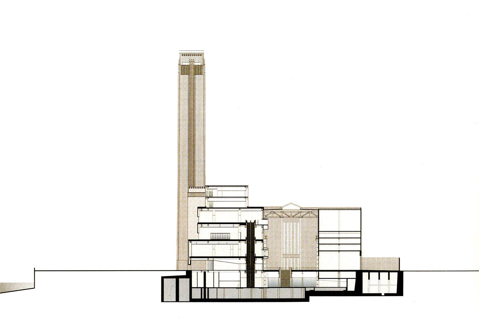 Hdm tate modern section representation darstellung for Tate modern building design