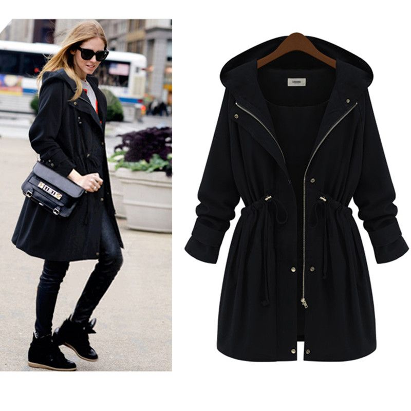 0464082b5f0 Plus Size XL-4XL Long Women Winter Coat With Hood Womens Fall Coats And  Jackets 2017 New Solid Black Casual Outwear GD21
