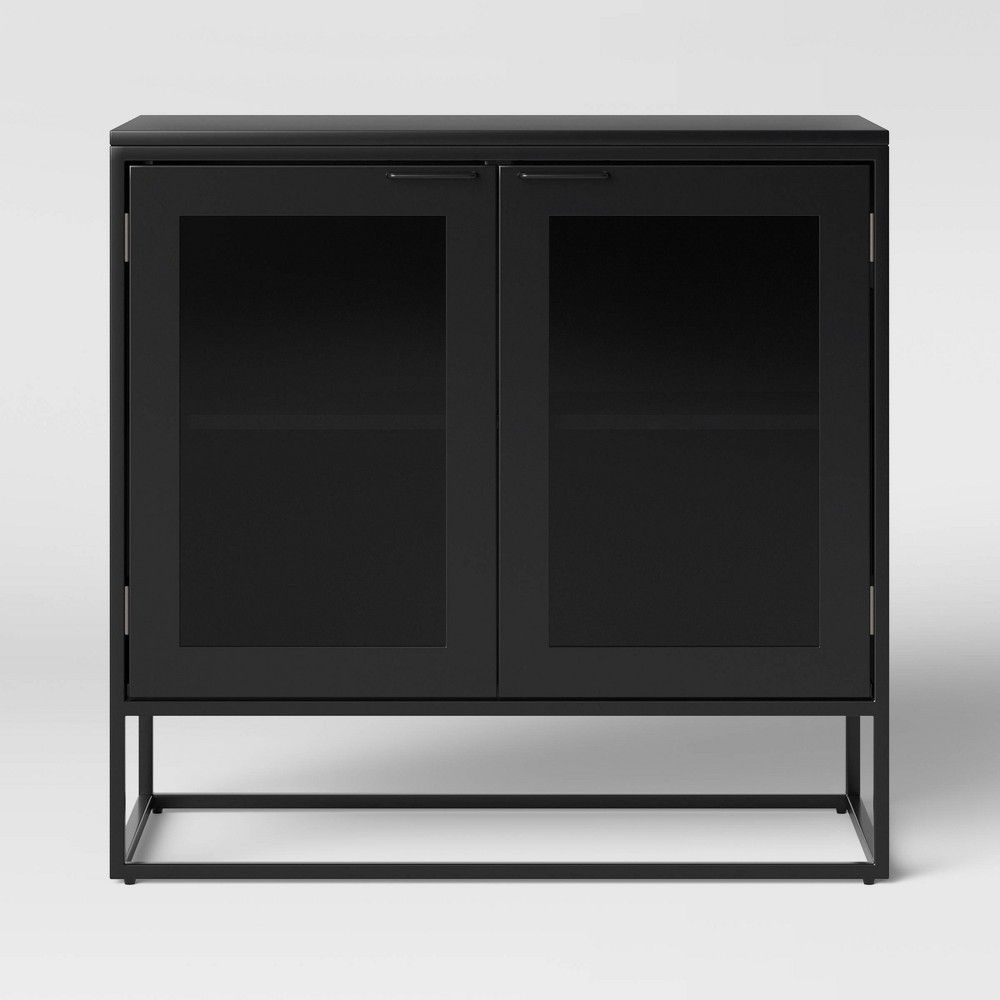 Glasgow Metal 2 Door Cabinet Black Project 62 Glass Cabinet Doors Metal Tv Stand Metal Storage Cabinets