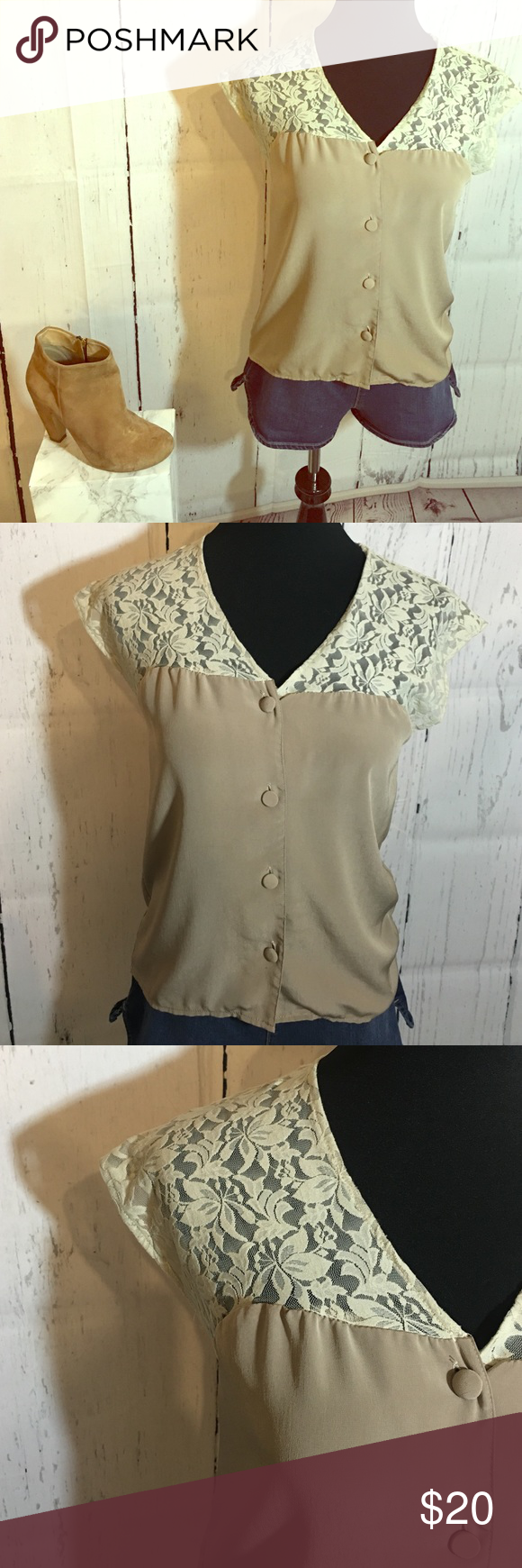Macy's lace beige button blouse Good condition! Size M but can fit a Small! Macy's Tops Blouses