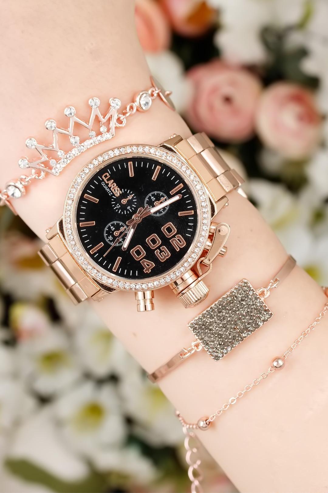 Clariss Marka Rose Renk Kaplama Metal Kordonlu Bayan Saat Ve Tacli Bileklik Kombini Res0 Kadin Saati Bayan Saatleri Bileklik