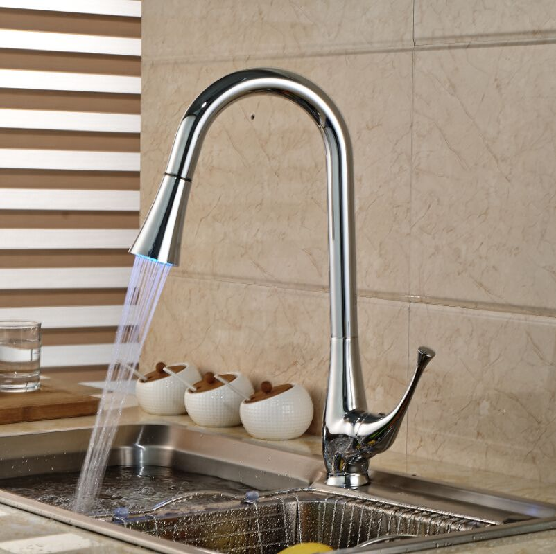 Luxury Led Light 3 Colors Kitchen Mixer Faucet Tap Chrome Finish