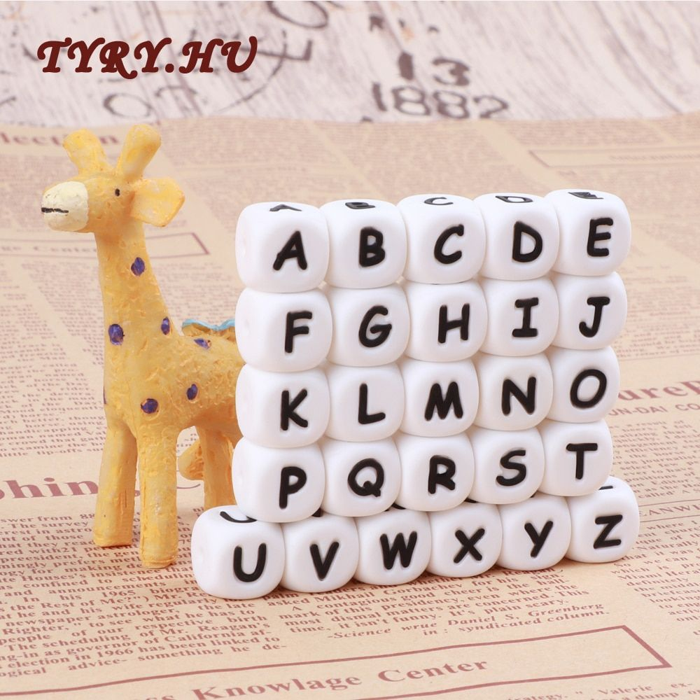 TYRY.HU 100Pc Chewing Silicone Beads 12MM Alphabet Letter Beads for Teething