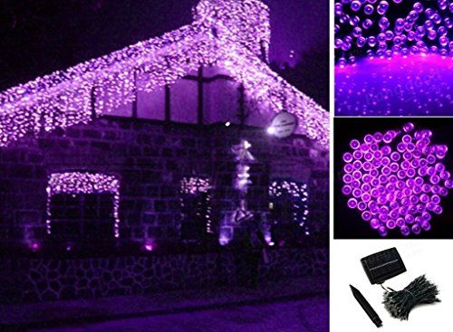 Purple 200 LED Solar Powered Fairy String Light Garden Party Decor - solar christmas decorations