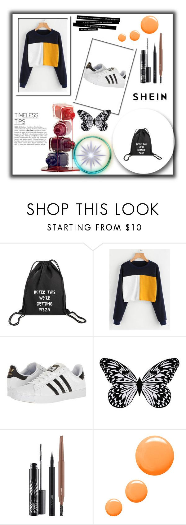 """shein contest"" by lime-kiwano ❤ liked on Polyvore featuring adidas, Visionnaire, MAC Cosmetics and Topshop"
