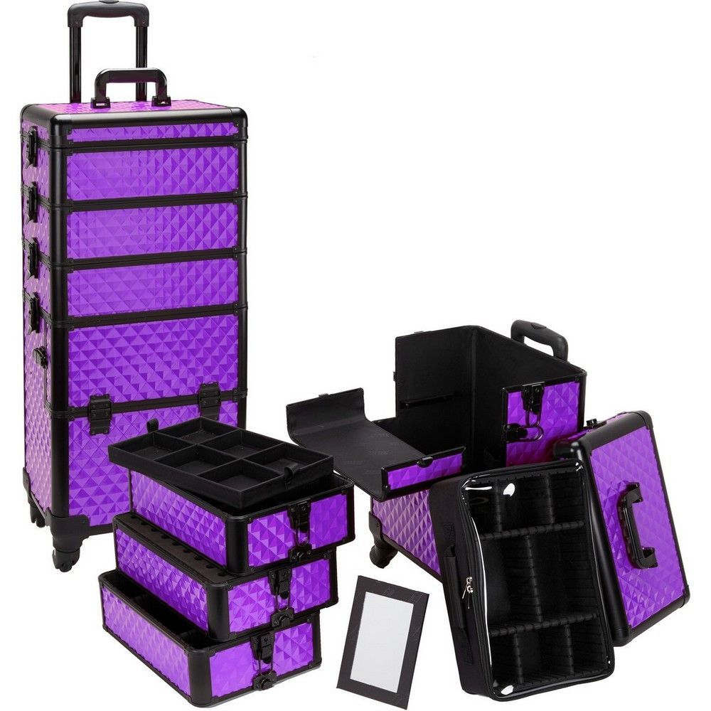 4 in 1 Rolling Professional Makeup Case w/ 4 360 Spinning
