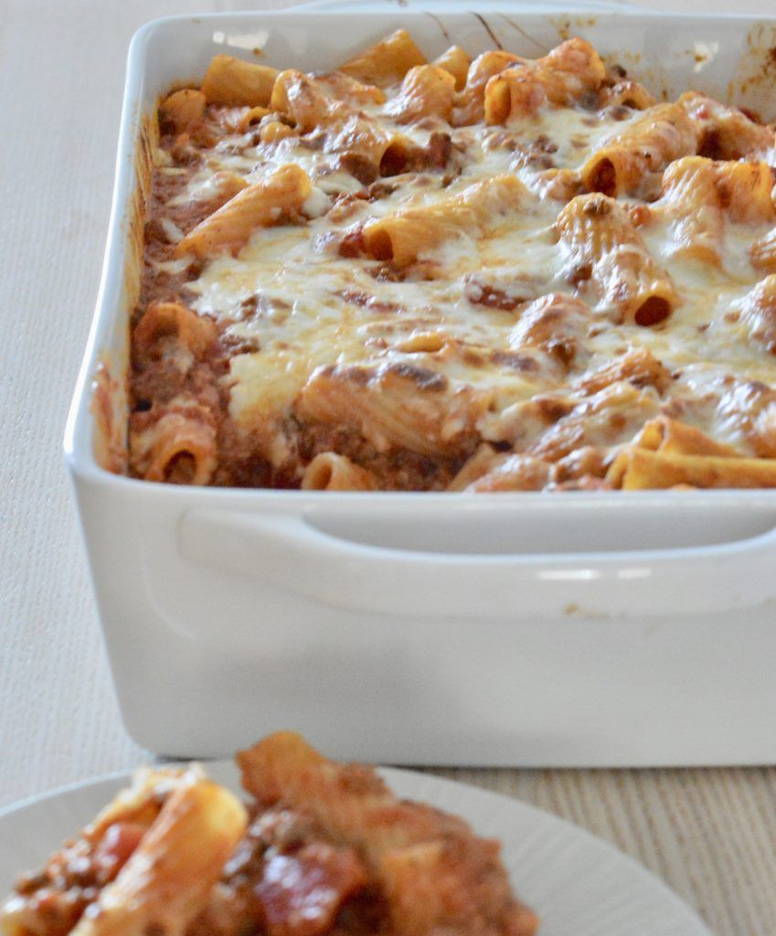 Baked Ziti With Meat Sauce This Delicious House Recipe Recipes Using Ground Beef Easy Baking Easy Baked Ziti