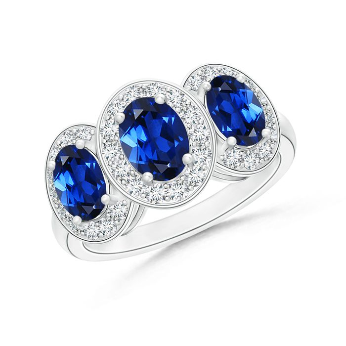 Angara Cathedral Set Blue Sapphire Three Stone Ring in 14k Yellow Gold XITKppOl