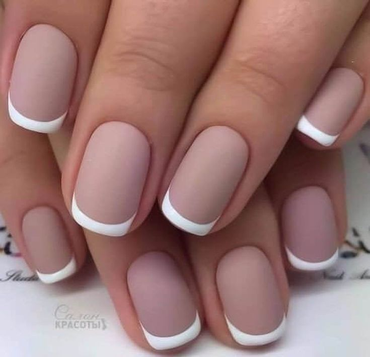 This French manicure is white. | Manicure, Pedi and Mani pedi