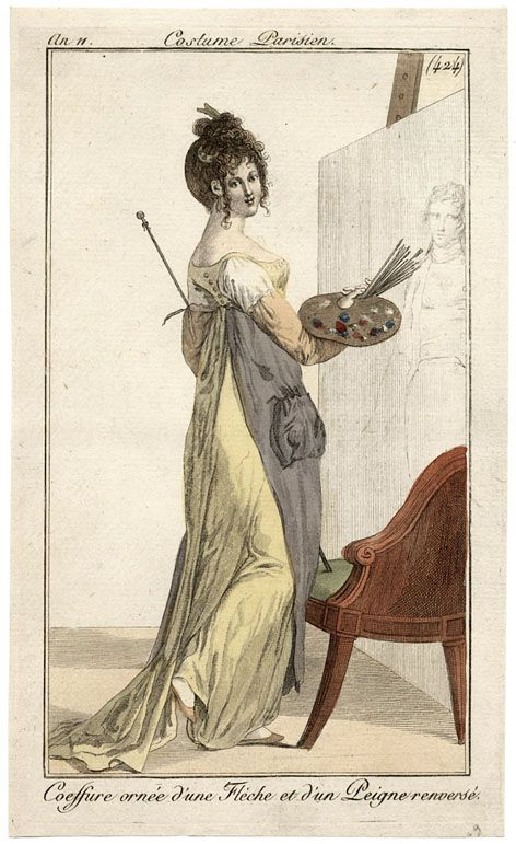 """1802. You'd think that if there were a full length dress under this """"jumper,"""" her raised foot would reveal the under-layer. So at least SOME were definitely this jumper type thing."""
