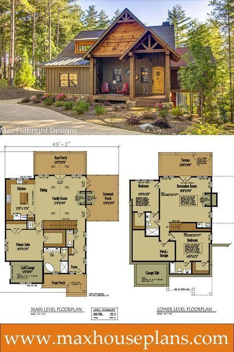 Small cabin home plan with open living floor plan open floor cabin and bedroom rustic