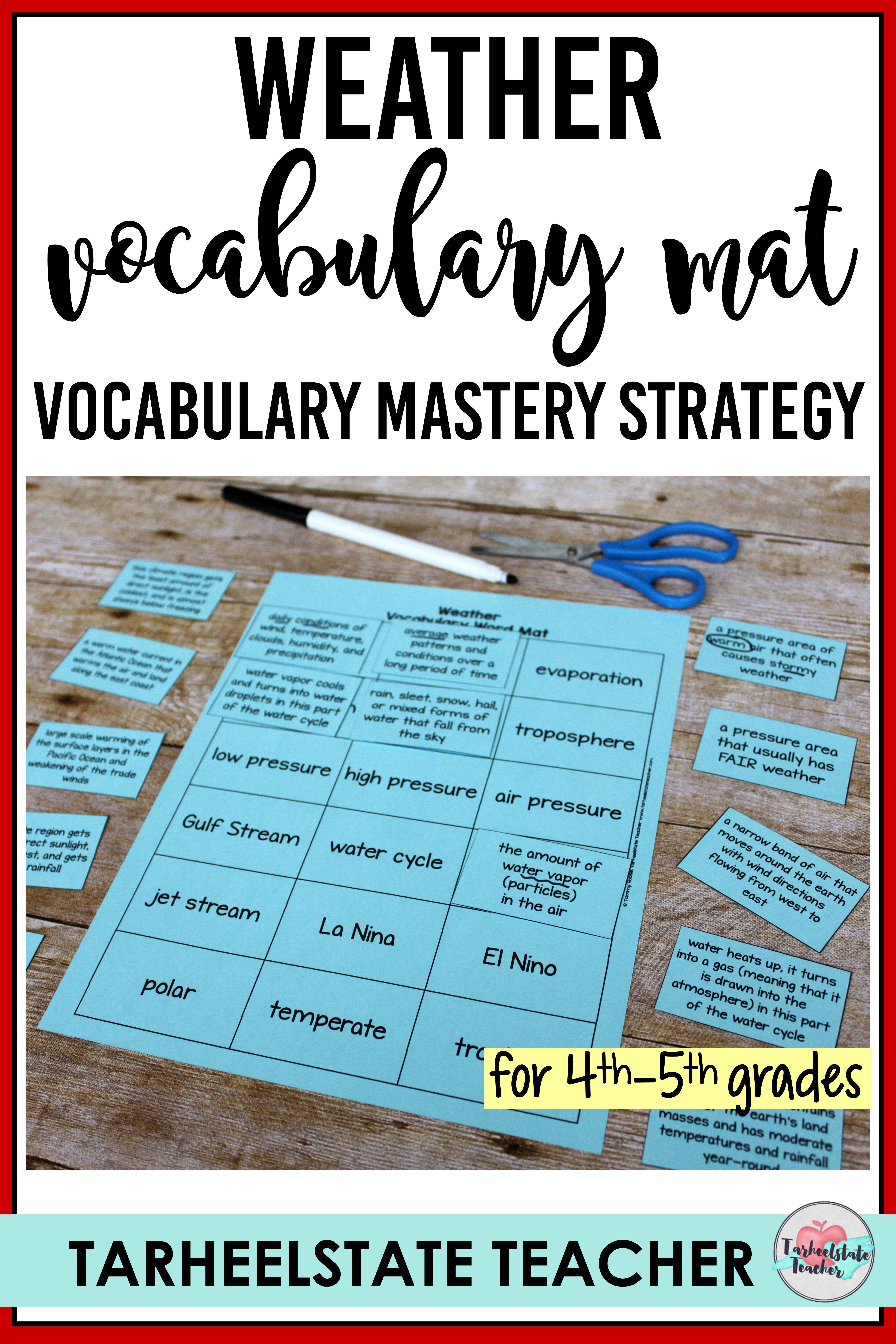 Weather Vocabulary Mats Study Slips And Quizzes