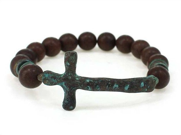 Stretch Chunky Semi Precious Beads Hammered Patina Cross Brown