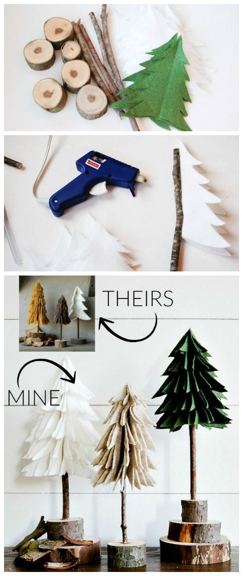 Create these super easy (and inexpensive!) felt trees for a fraction of the price! #christmas #christmasdecor #holidaydecorating #diychristmas #christmastrees #felttrees
