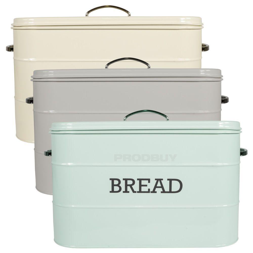 Bread Bin Vintage Enamel Living Nostalgia Kitchen Storage Crock Box