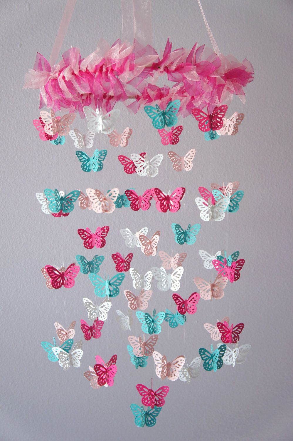 butterfly nursery mobile hot pink aqua butterfly. Black Bedroom Furniture Sets. Home Design Ideas