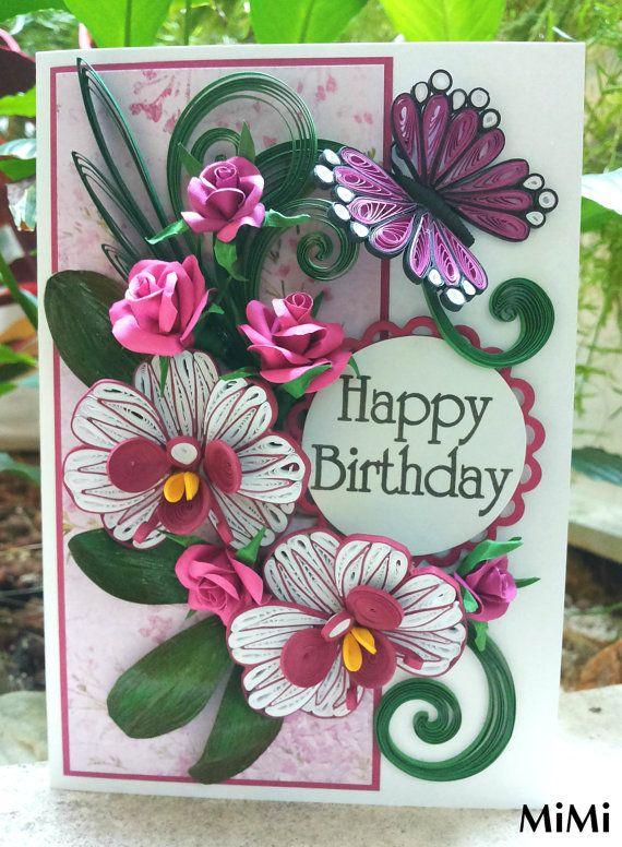 Tubulares de tarjeta / tarjeta de cumpleaños / hecho a mano / Quilling saludo tarjeta - Vintage/romántico orquídeas y rosas