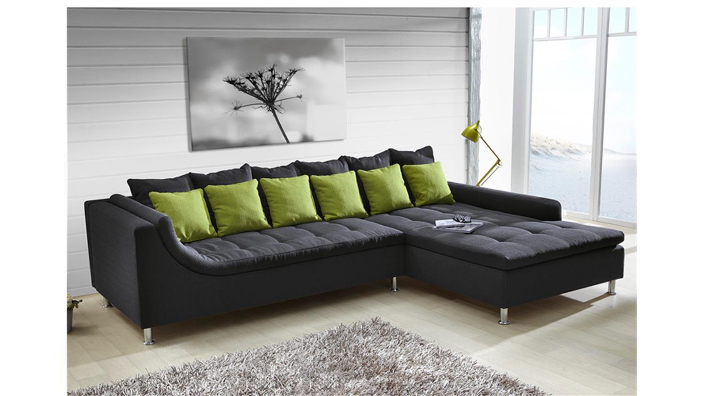 Ecksofa MONTEGO Sofa mit Ottomane dunkelgrau Kissen grün | Pinterest ...