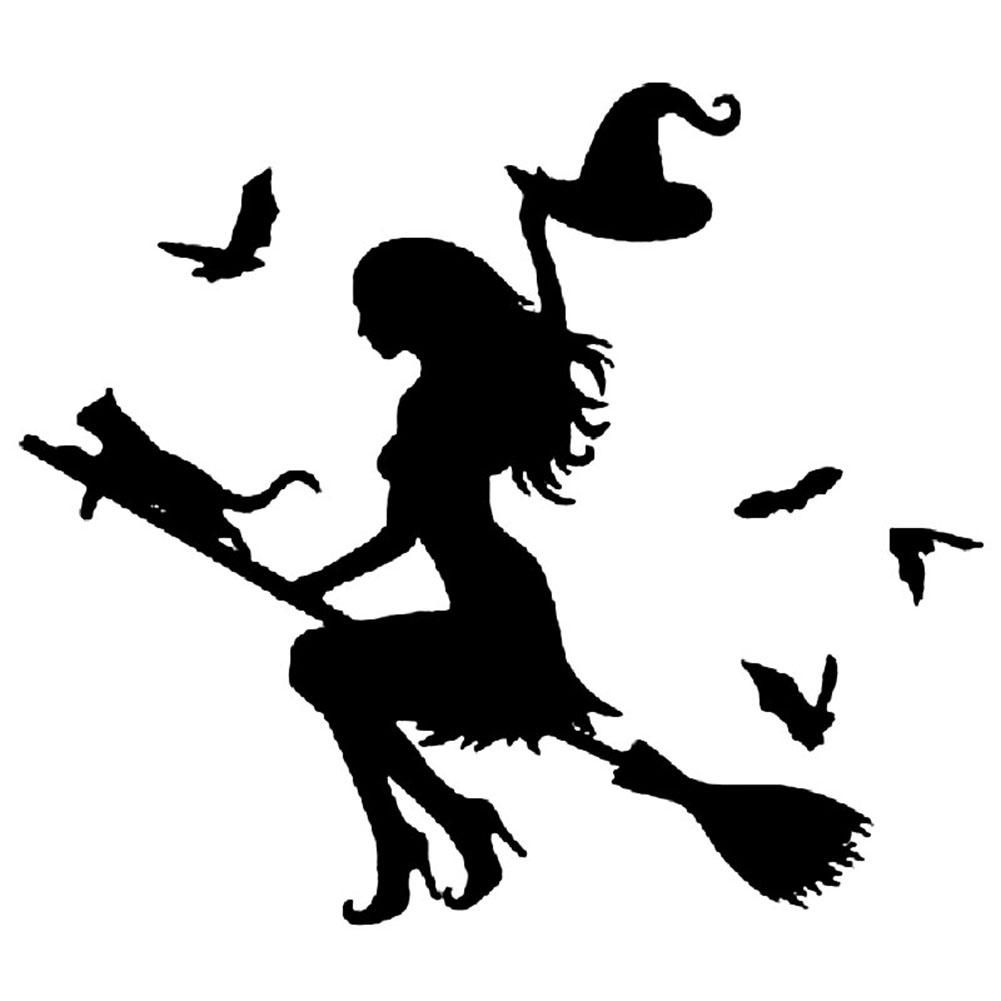 Photo of Witch On Flying Broom Car Auto Sticker Bumper Window Laptop Halloween DIY Decal – Black