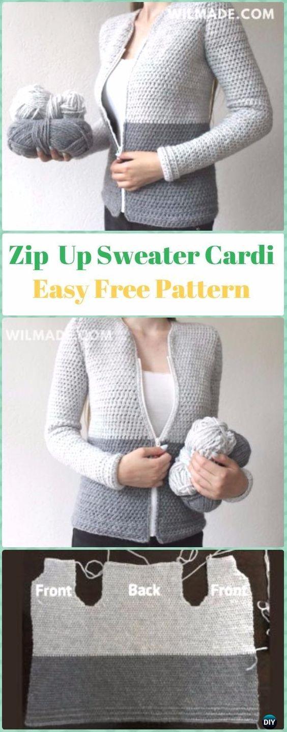 Crochet Zip Front Sweater Cardigan patrón libre - mujeres del cráneo ...