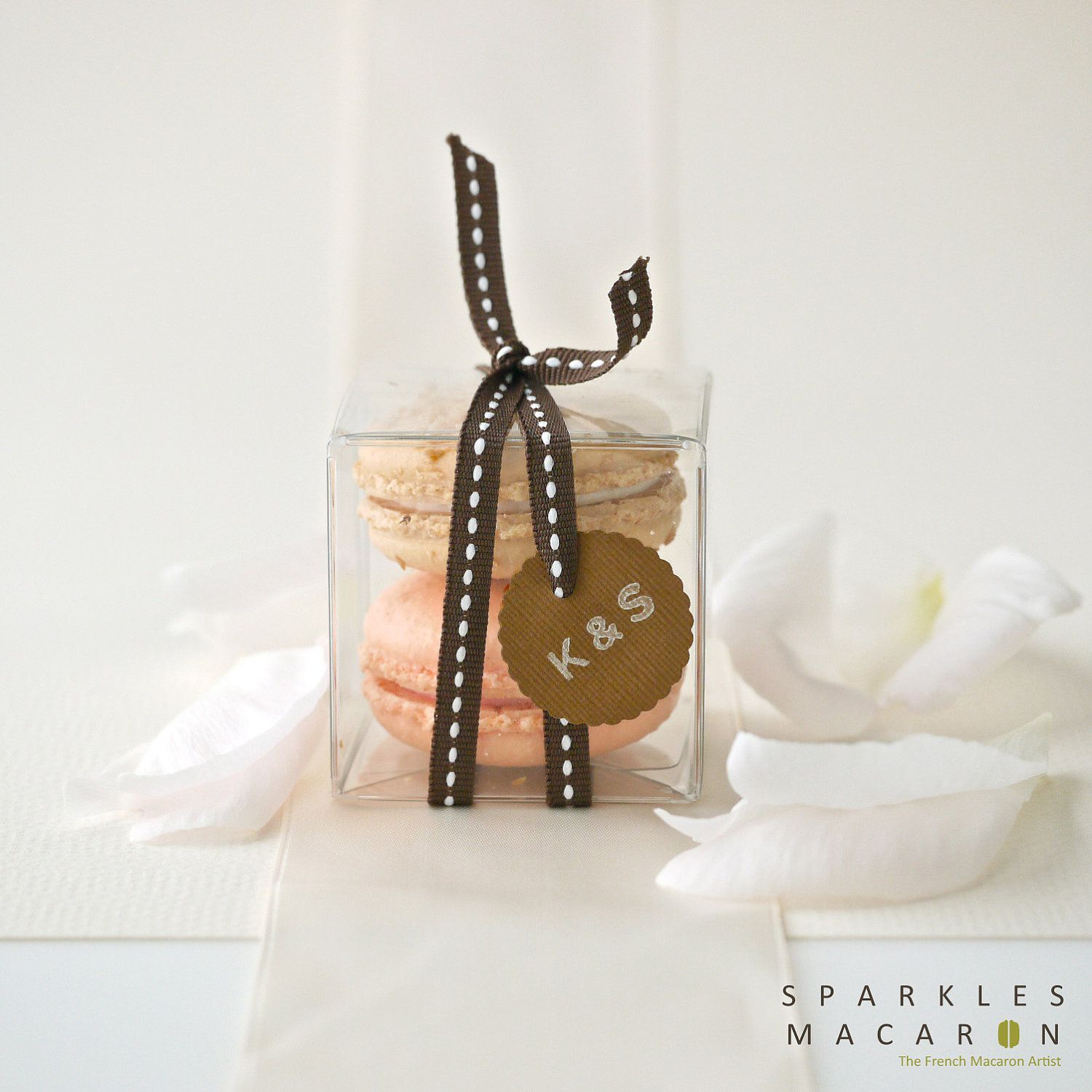 Single Stitched Ribbon and Tag Macaron Favor M by SparklesMacaron ...
